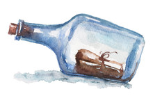 Watercolor Hand Drawn Nautical / Marine Illustration With Old Bottle And Note Inside