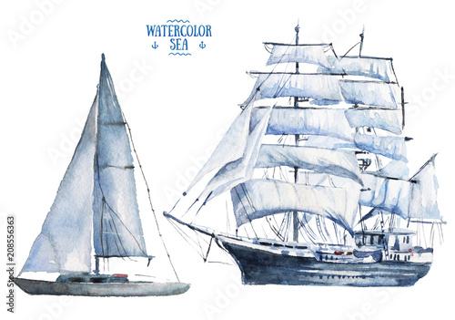 Fotobehang Art Studio Watercolor hand drawn marine vessels - schooner and frigate - sea sailing types elements