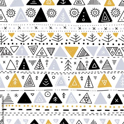 Foto auf AluDibond Boho-Stil Vector seamless pattern with ethnic tribal boho triangle ornaments