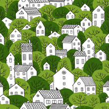 Trees And Houses Seamless Patt...