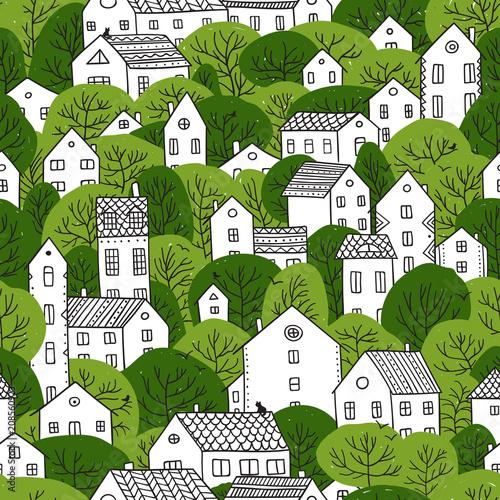 drzewa-i-domy-bez-szwu-wzor-letnich-zielonych-kolorach