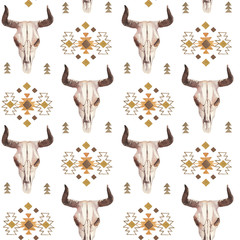 Naklejka Boho Watercolor ethnic boho seamless pattern of bull cow skull, horns & tribe ornament on bright background, native american decor print element, tribal bohemian navajo, Indian, Peru, Aztec wrapping