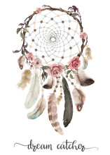 Isolated Watercolor Decoration Bohemian Dreamcatcher, Boho Feathers Decoration, Native Dream Chic Design, Mystery Ethnic Tribal Print, American Culture Design, Gypsy Ornament, Dream Catcher