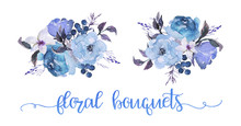 Watercolor Floral Illustration - Two Flower (morning Glory, Bluebird, Lilac, Rose, Summer Blue) Bouquets For Wedding, Anniversary, Birthday, Etc. Invitations.