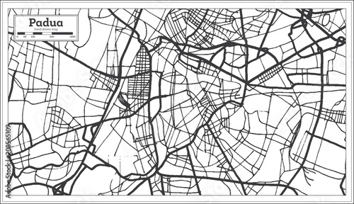 Photo Padua Italy City Map in Retro Style. Outline Map.
