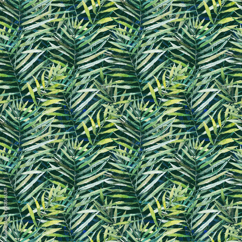 Recess Fitting Tropical leaves Green tropical palm & fern leaves on black background. Watercolor hand painted seamless pattern. Tropical illustration. Jungle foliage.