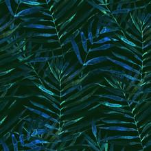 Blue-green Tropical Palm & Fer...