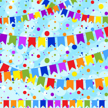 Set Of Six Flat Colored Garlands Isolated In The Form Of Flags On A Rope. On The Background Of Colorful Confetti. Suitable For Design.