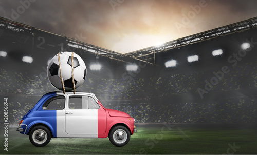 Fotobehang Sportwinkel France flag on car delivering soccer or football ball at stadium