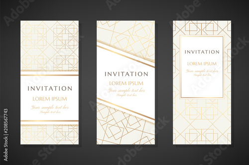 Illustration With Gold Lin Art Texture Invitation Templates Cover
