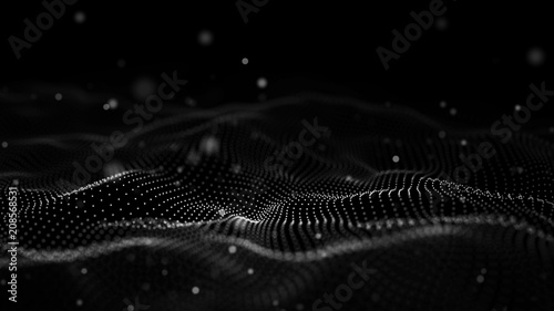 Fototapeta Data technology illustration. Abstract futuristic background. Wave with connecting dots and lines on dark background. Wave of particles. obraz