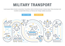 Website Banner And Landing Page Of Military Transport.