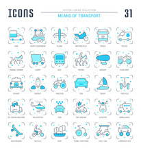 Set Blue Line Icons Of Means Of Transport.