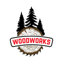 Woodworks. Emblem With Trees A...