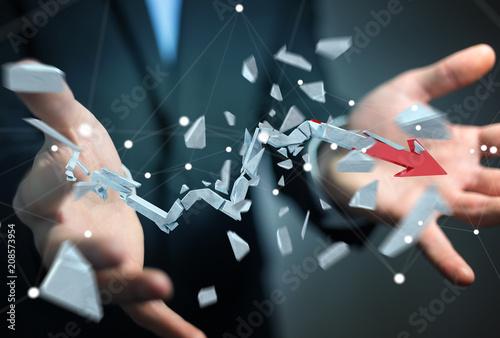 Fotografía  Businessman with broken crisis arrow 3D rendering