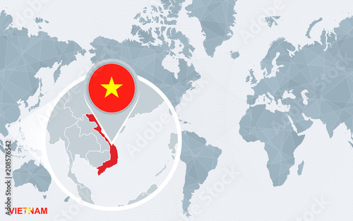 World map centered on America with magnified Vietnam ...