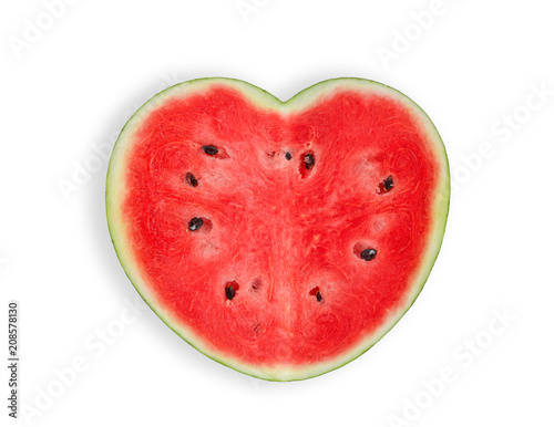 heart shaped watermelon isolated on white background,top view, flat lay