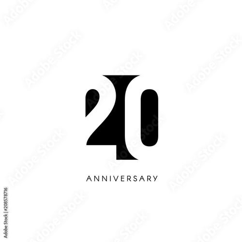 Fotomural Twenty anniversary, minimalistic logo