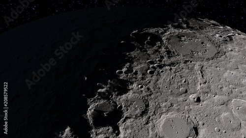 Craters in the surface of the Moon. Elements of this image furnished by NASA's Scientific Visualization Studio.