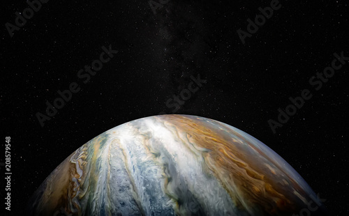 View of Jupiter, the fifth planet of the Solar System, with stars and Milky Way. Juno satellite mission . Science fiction background. Elements of this image furnished by NASA.