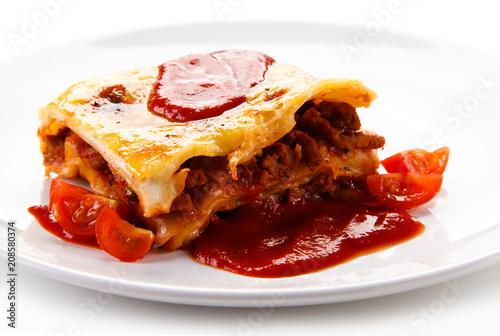 Lasagna on white background