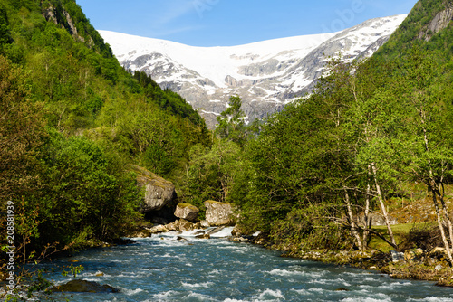 Staande foto Gletsjers Valley landscape with a glacial meltwater river and a distant glacier. Location along the river Jordalselvi by the glacier Buarbreen.