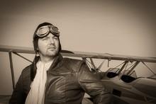 Portrait Of A Vintage Pilot Wi...