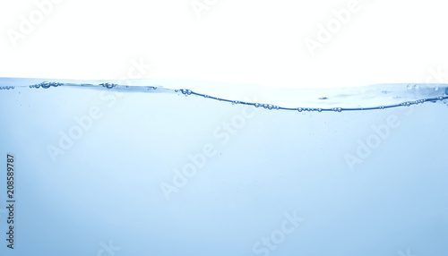 clean blue water surface with air bubbles on white background Wallpaper Mural