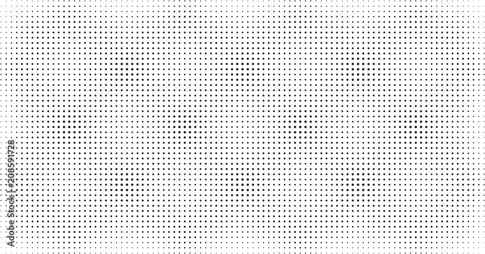 Fototapety, obrazy: Halftone dots pattern, light overlay background texture in black and white, screen tone textured background, crosshatch, checkered geometric print