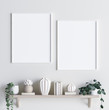 canvas print picture - Mock up poster frame in interior background with decor on shelf, 3d render