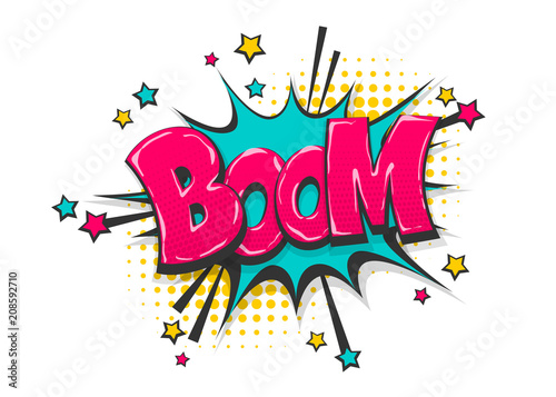 Boom pop art comic book text speech bubble Fototapet