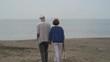4K elderly couple enjoyng a sunny day on the beach, holding hands