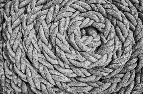 Türaufkleber Schiff Black and white close up picture of an old sailing ship rope.