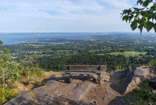 View over Oslofjord towards south and Slememstad from Skaugum hill, ca 3 km steep hike from nearest parking
