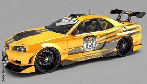 Türaufkleber Schnelle Autos The sports car is a sedan coupe in exclusive racing performance and with an aerodynamic body kit. It is intended for ring competitions.