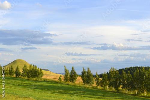 Fotobehang Blauwe hemel Summer landscape with mountain