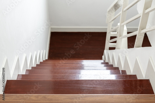 Fotobehang Trappen Hardwood stair steps, interior stairs material and home design