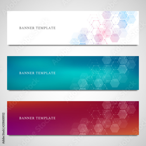 Fototapeta Science, medical and digital technology header or banners. Geometric abstract background with hexagons design. Molecular structure and communication vector illustration. obraz
