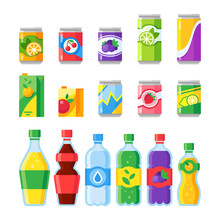 Drink Beverages. Cold Energy Or Fizzy Soda Beverage, Sparkling Water And Fruit Juice In Glass Bottles. Drinks Vector Icons