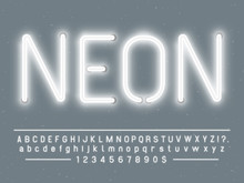 Bright Glowing White Neon Sign Characters. Vector Font With Glow Light Letters And Numbers Lamps
