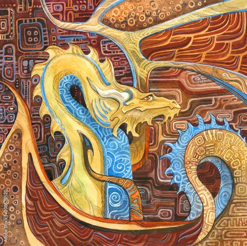 Obrazy Gustav Klimt  dragon-in-klimt-s-style