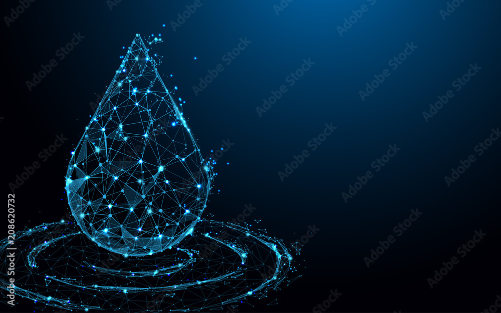 Fototapety, obrazy: Water drop form lines, triangles and particle style design. Illustration vector
