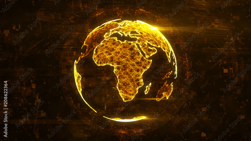 Fototapety, obrazy: Digital abstract globe made of plexus glowing lines. Business technology structure of the orange lines, dots and particles. Africa continent. 3d rendering