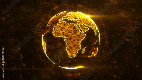 Photo  Digital abstract globe made of plexus glowing lines
