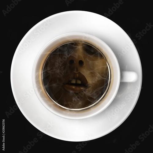 Valokuva  Pause café : un visage de femme se reflète dans une tasse de café