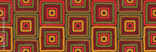 Foto auf AluDibond Boho-Stil Abstract bright multi-colored background imitating hand-made embroidery in folk style, seamless geometric pattern of squares, motley seamless vector prints, geometric, geo background