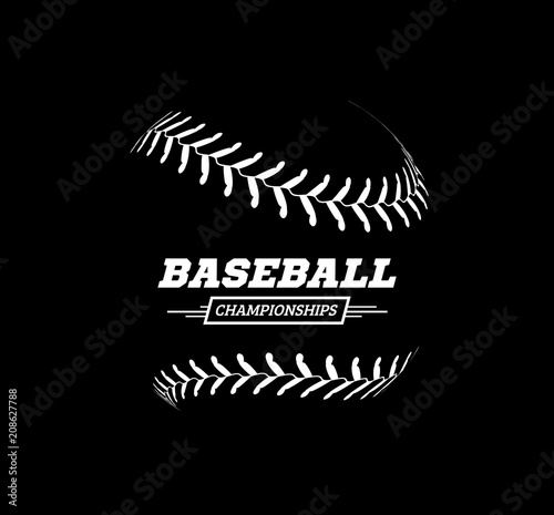 Wallpaper Mural Vector baseball ball on black background.