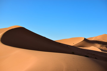Fototapeta na wymiar Sands, dunes and shadows in the Sahara desert. Photograph taken somewhere in the Sahara desert in Merzouga (Morocco)