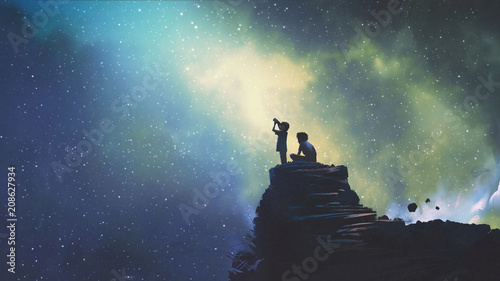 Spoed Foto op Canvas Grandfailure night scene of two brothers outdoors, llittle boy looking through a telescope at stars in the sky, digital art style, illustration painting