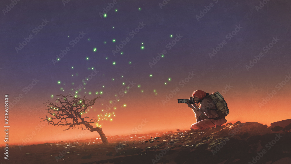Fototapety, obrazy: travel man taking a photo at the tree with glowing leaves floating in the sky, digital art style, illustration painting